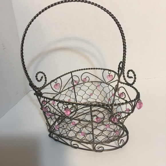 Pretty Decorated Wire Heart Basket!
